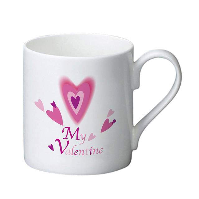 Red Hearts Valentine's Bone China Mug