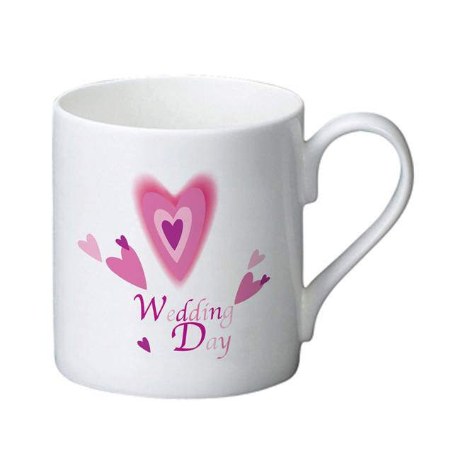 Red Hearts Wedding Day Bone China Mug