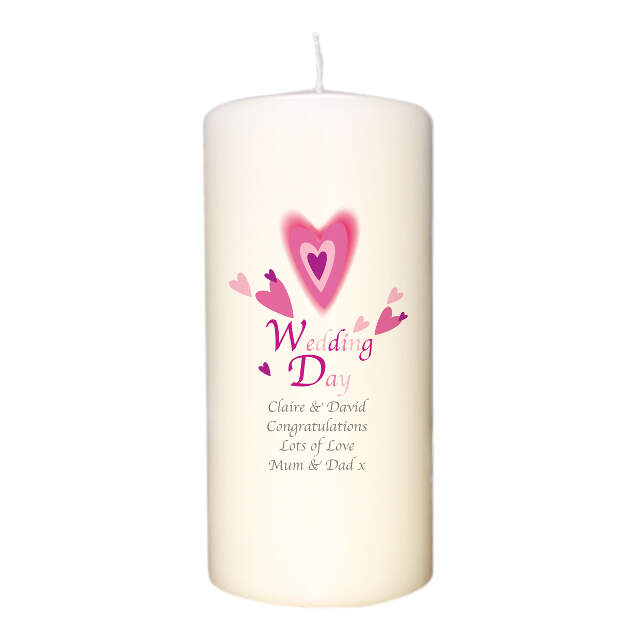 Red Hearts Wedding Day Candle