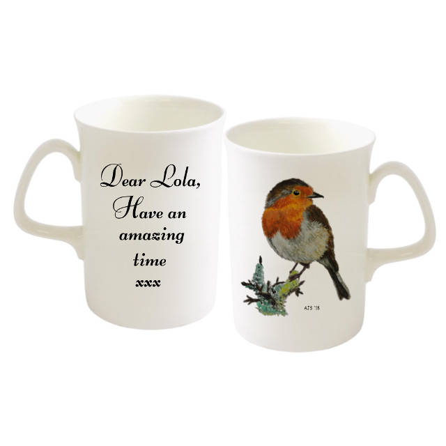 Robin on Branch Personalised Bone China Mug