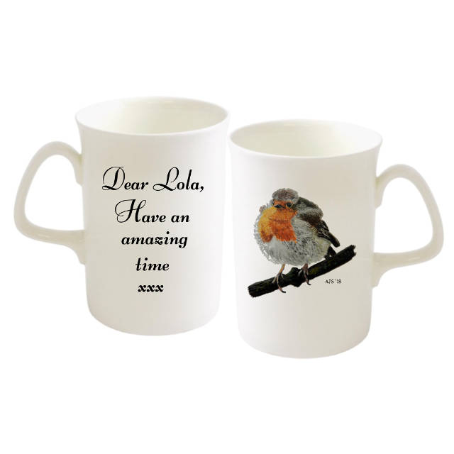 Robin on Twig Personalised Bone China Mug