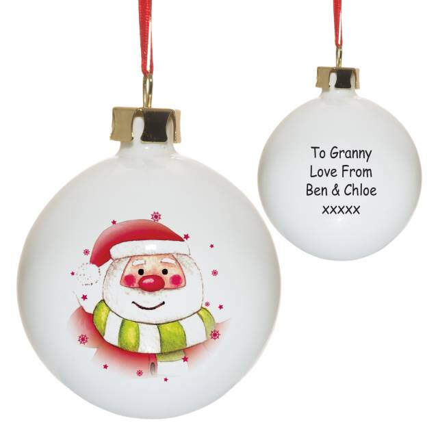 Santa & Stars Bone China Bauble