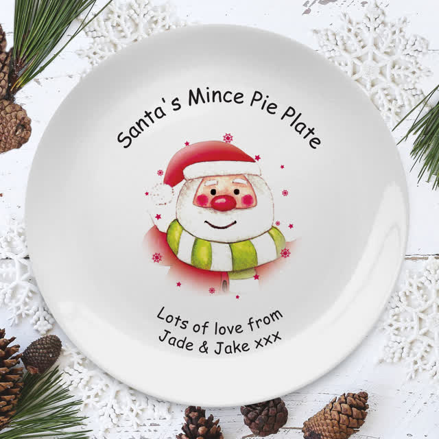 "Santa & Stars Mince Pie 8"" Coupe Plate"