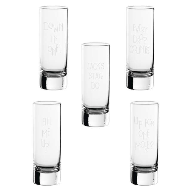 Set of 5 Engraved Shot Glasses