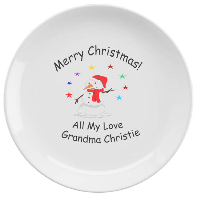 A friendly snowman plate which helps to say your message of love this Christmas. Personalised snowman plate for a loved one
