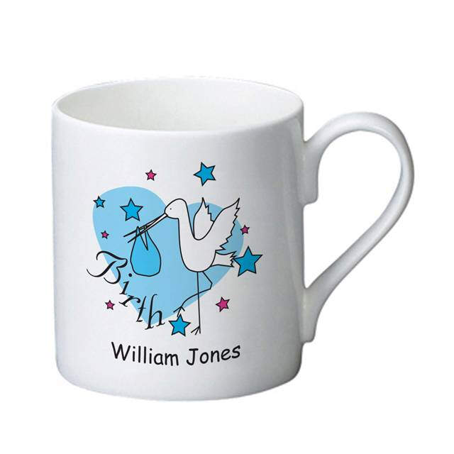 Stork Blue Birth Bone China Mug