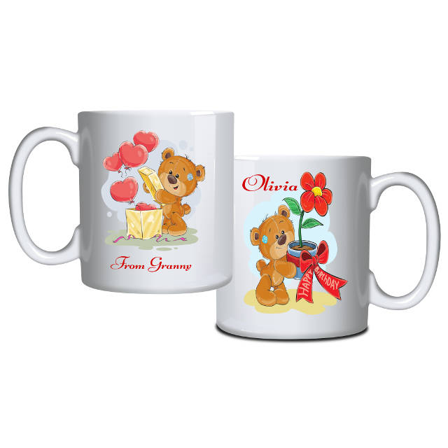 Teddy and Flower Personalised Birthday Mug