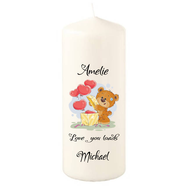 Teddy and Hearts Personalised Candle