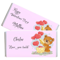 Teddy and Hearts Valentines Personalised Chocolate