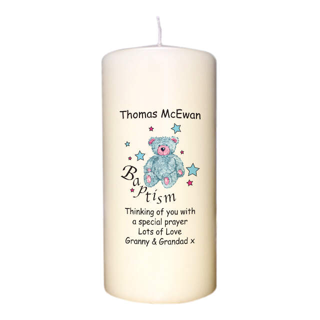 Teddy & Stars Blue Baptism Candle