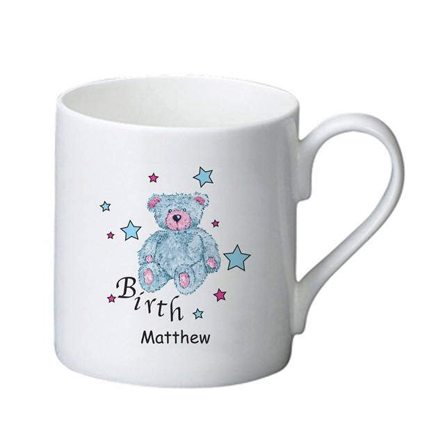 Teddy & Stars Blue Birth Bone China Mug
