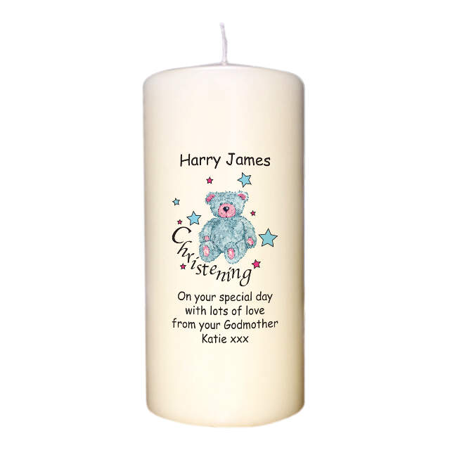 Teddy & Stars Blue Christening Candle