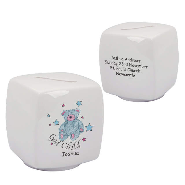 Teddy & Stars Blue Godchild Bone China Moneybox