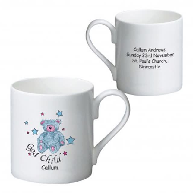 Teddy & Stars Blue Godchild Bone China Mug