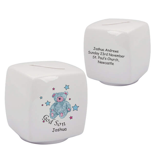 Teddy & Stars Blue Godson Bone China Moneybox