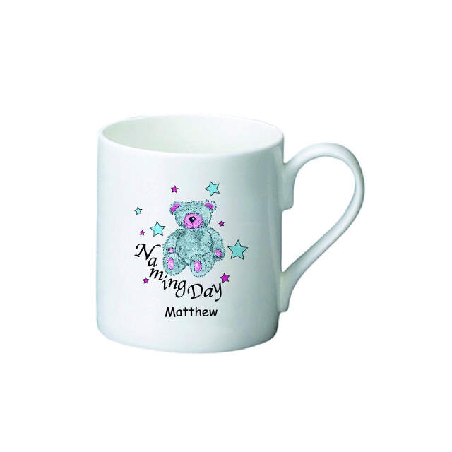 Teddy & Stars Blue Naming Day Bone China Mug