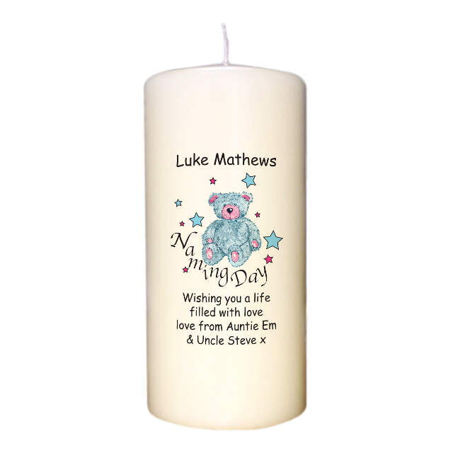 Teddy & Stars Blue Naming Day Candle