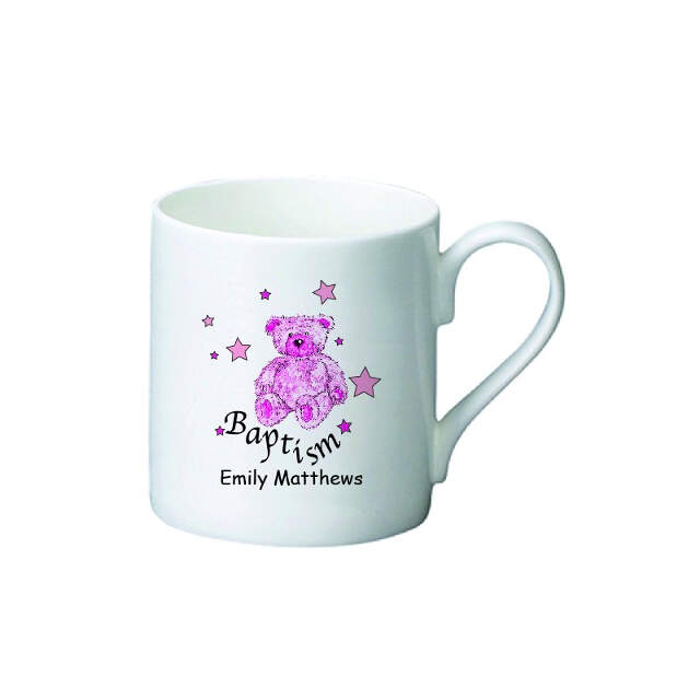 Teddy & Stars Pink Baptism Bone China Mug