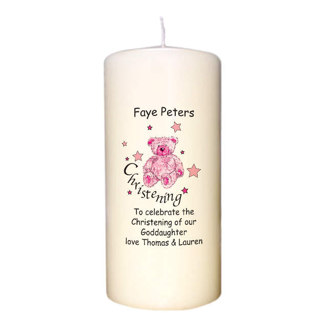 Teddy & Stars Pink Christening Candle