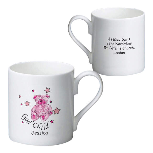 Teddy & Stars Pink Godchild Bone China Mug
