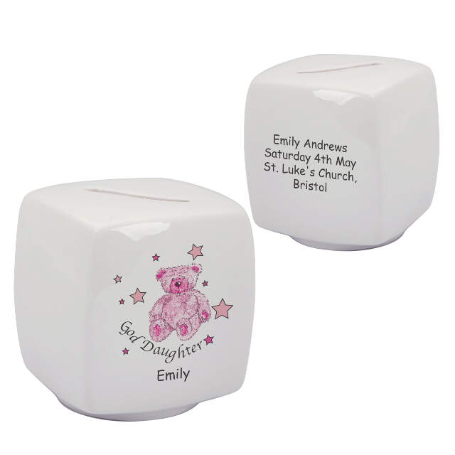 Teddy & Stars Pink Goddaughter Bone China Moneybox