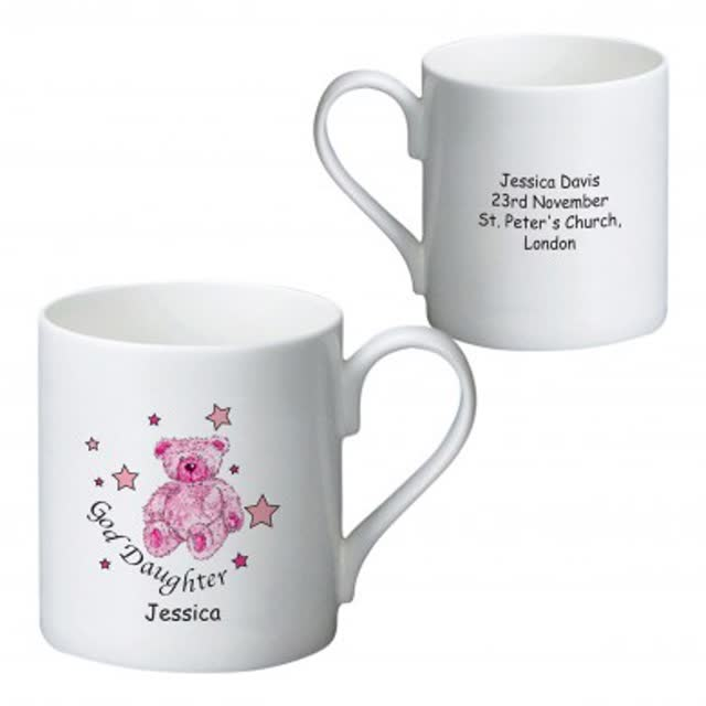 Teddy & Stars Pink Goddaughter Bone China Mug