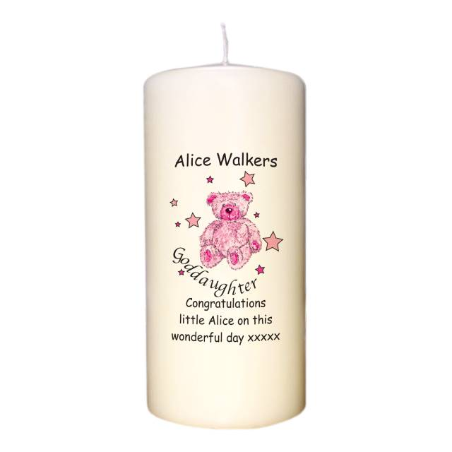 Teddy & Stars Pink Goddaughter Candle