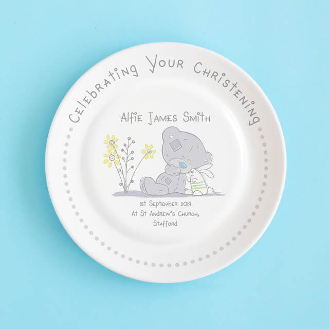 Tiny Tatty Teddy Christening Rimmed Plate