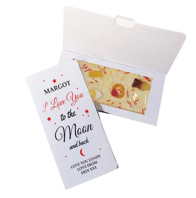 To The Moon & Back White Chocolate Card