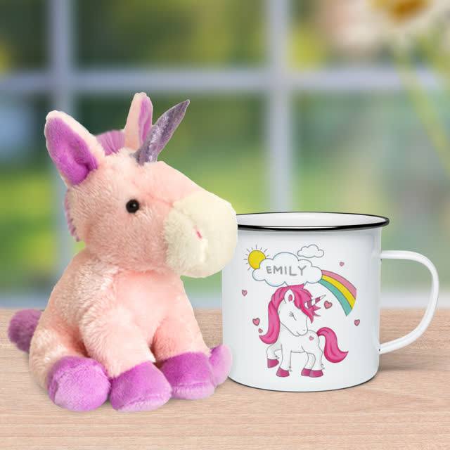 Unicorn Enamel Mug & Plush