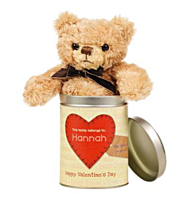 Valentines Day Teddy in a tin - Heart