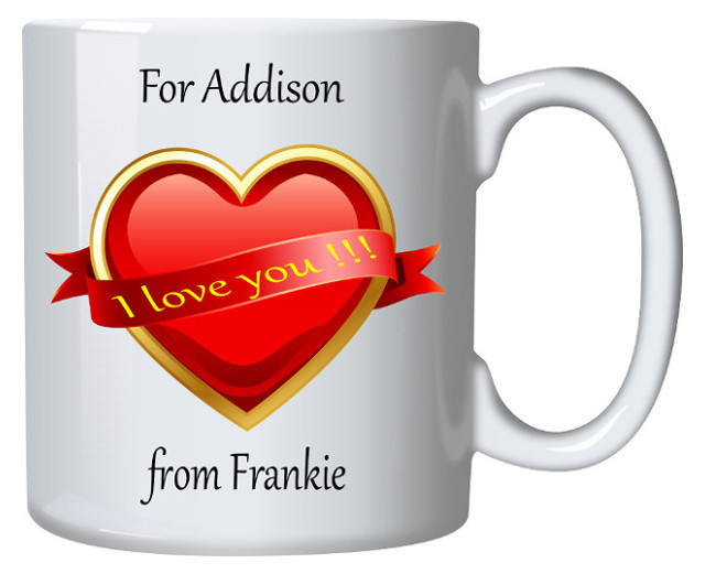 Valentine's Personalised Mug Yellow Message on Heart