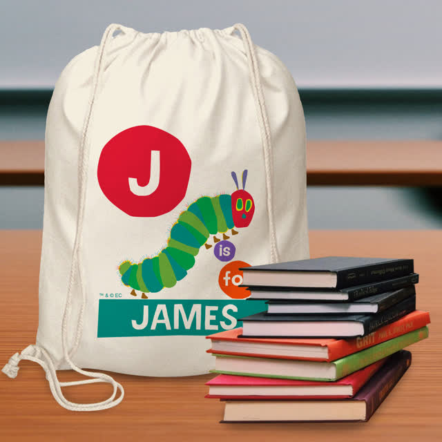 Very Hungry Caterpillar Dot Initial Drawstring Bag