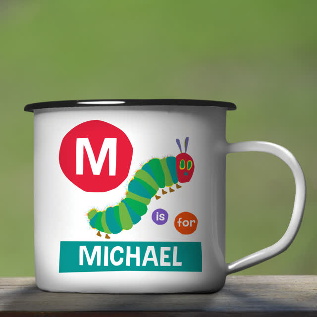 Very Hungry Caterpillar Dot Initial Enamel Mug