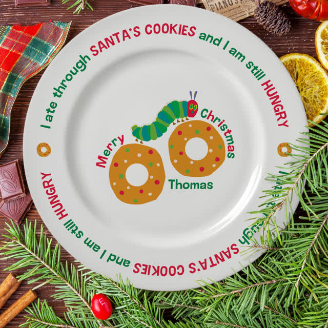 "Very Hungry Caterpillar Santa's Cookies 8"" Rimmed Plate"