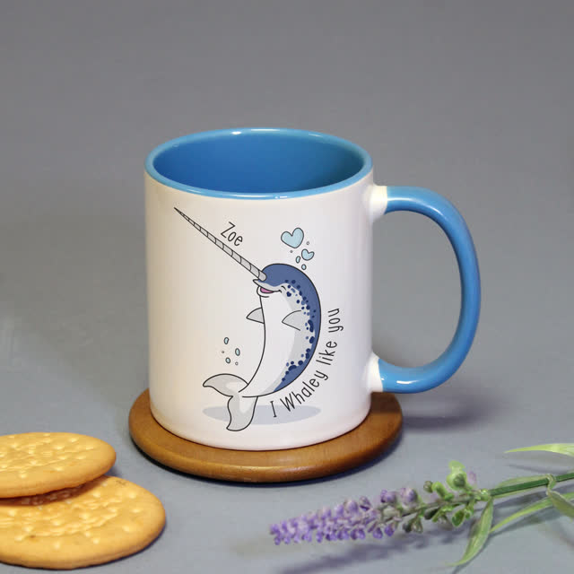 Whaley Like You Blue Inside Mug