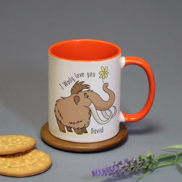 Wooly Love You Orange Inside Mug
