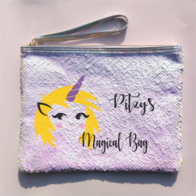 Yellow Hair Unicorn Personalised Sequin Pouch Bag