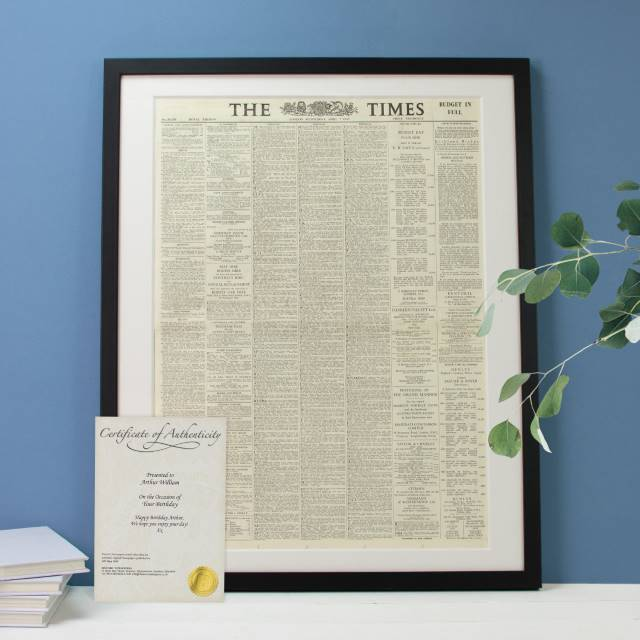 Original Newspaper in a Picture Frame